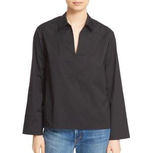 Vince Split Neck Collared Blouse Poplin Black Work